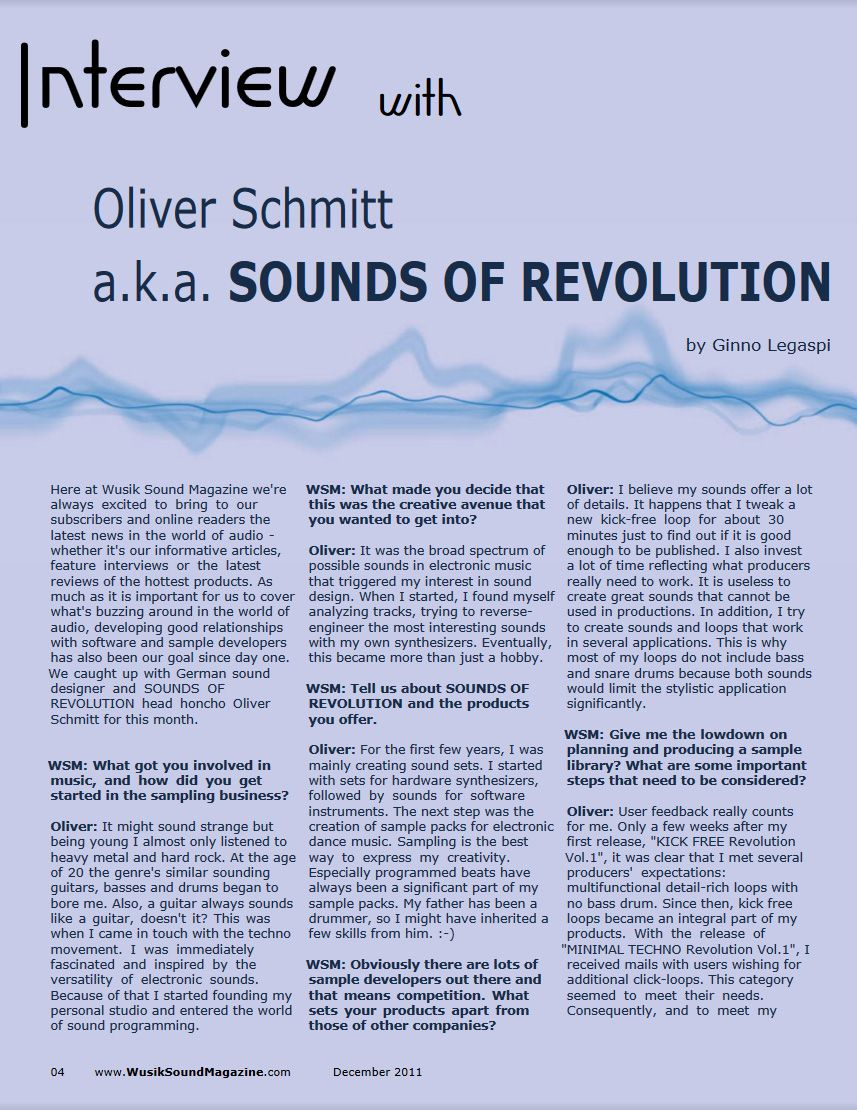 Wusik Sound Magazine 2011 Interview with Oliver Schmitt (SOR) Page1